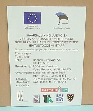 KIK ja Euroliidu teabetahvel 80x60 cm