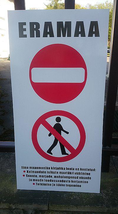 seente korjamine ja kalapüük eramaal keelatud