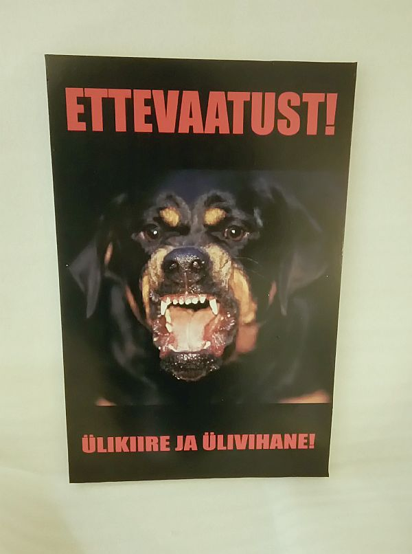 Kuri koer silt 30 x 20 cm või muus mõõdus