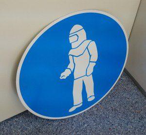 Skafander - sinine ohtussilt - kanna kaitseriideid